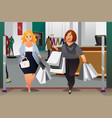 women shopping in a mall vector image vector image