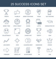 25 success icons vector image vector image