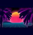 3d sunset on beach retro palms sci fi vector image