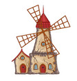 abandoned windmill vector image vector image