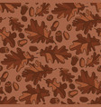 autumn oak leaves and seeds seamless pattern vector image vector image