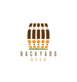 backyard beer design template with fence and cask vector image vector image