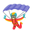 black man flying with a parachute vector image vector image