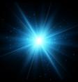 blue glitter star burst light effect vector image vector image