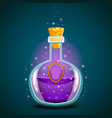 bottle of magic elixir with shield vector image vector image