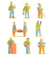 Builder Professionals At Construction Site Set vector image vector image