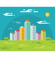 buildings in city - flat vector image