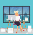 business woman working at his office desk stress vector image vector image