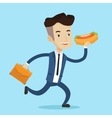 Businessman eating hot dog vector image vector image