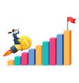 businesswoman flying on big idea bulb rocket vector image vector image