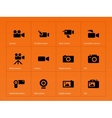Camera icons on orange background vector image vector image