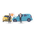 car accident damaged autos angry scared men vector image vector image
