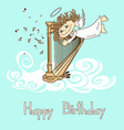 Card for birthday with cupid playing the harp vector image vector image