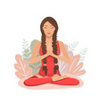 cartoon girl in yoga lotus practices meditation vector image vector image