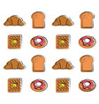 croissant waffle donut bread food related pattern vector image