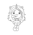 cute baby unicorn coloring page for girls vector image vector image