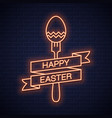 easter neon menu happy easter neon fork vector image vector image