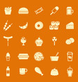 fast food color icons on orange background vector image vector image