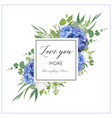 floral print with blue hydrangea elegant bouquet vector image vector image