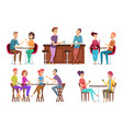 friends meeting cafe restaurant dinner happy vector image vector image