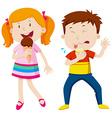 Girl eating icecream and boy eating lemon vector image vector image