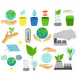 global warming icons ecological environment vector image vector image