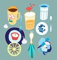 graphic set of different food and drink on a light vector image vector image