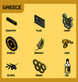 greece color outline isometric icons vector image vector image