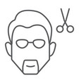 haircut thin line icon barber and hairstyle vector image