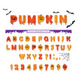 halloween pumpkin font cute colorful letters and vector image