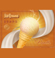 ice cream in a cone vintage poster vector image