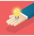 Lightbulb in hand vector image vector image