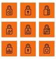 lock set internet icons vector image vector image