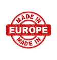 made in europe red stamp on white background vector image vector image