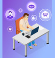 man at computer leads video blog online male vector image vector image