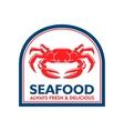 Mediterranean restaurant badge with crab symbol vector image vector image