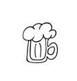 mug beer icon in doodle style isolated on vector image vector image