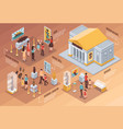 museum isometric infographics vector image vector image