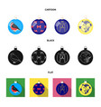 new year toys cartoonblackflat icons in set vector image vector image