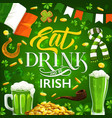 patricks day symbols food and drinks vector image vector image