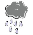 rain from cloud on white background vector image