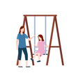 recreation and amusement girls on swing vector image vector image