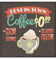 Retro styled grunge poster with fresh coffee vector image vector image