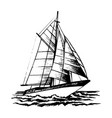 sailboat sketch vector image vector image