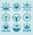 seafood labels badges emblems and logos vector image vector image