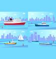 seagoing vessels near coastline set vector image vector image