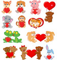 set cute animals with red heart vector image