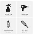 set of 4 editable barber icons includes symbols vector image