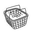 shopping basket icon doodle hand drawn or outline vector image