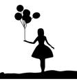 Silhouette girl holding a balloon vector image vector image
